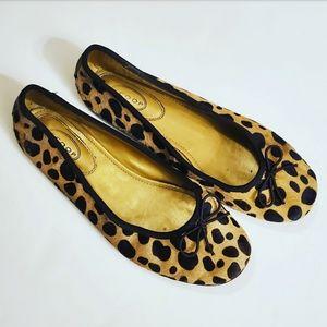 Scoop NYC Brown Leopard Print Ballet Flat Pumps